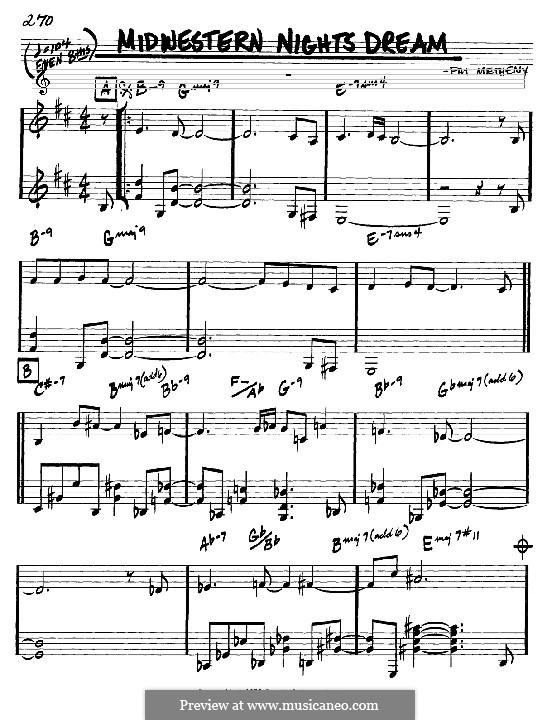 Midwestern Nights Dream: Мелодия и аккорды - инструменты in C by Pat Metheny