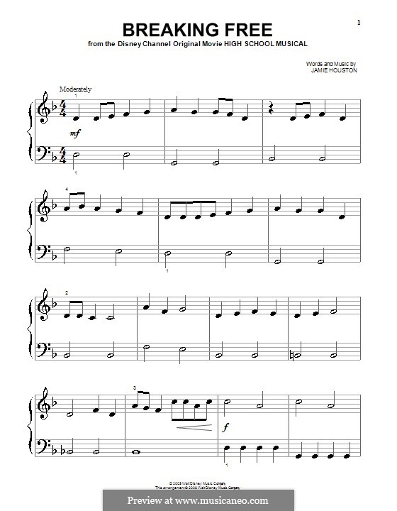 Breaking Free (from High School Musical): Для фортепиано (легкий уровень) (Vanessa Hudgens and Zac Efron) by Jamie Houston