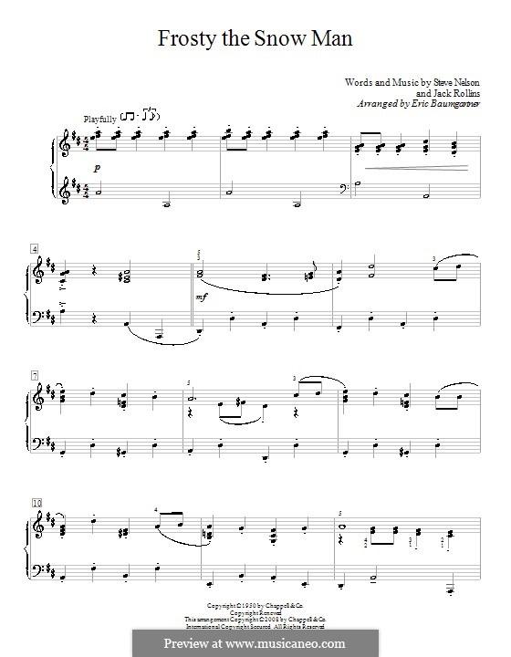 Frosty the Snow Man: Для фортепиано (D Major) by Jack Rollins, Steve Nelson