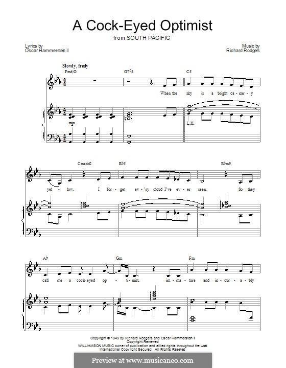 A Cockeyed Optimist: Для голоса и фортепиано (или гитары) by Richard Rodgers