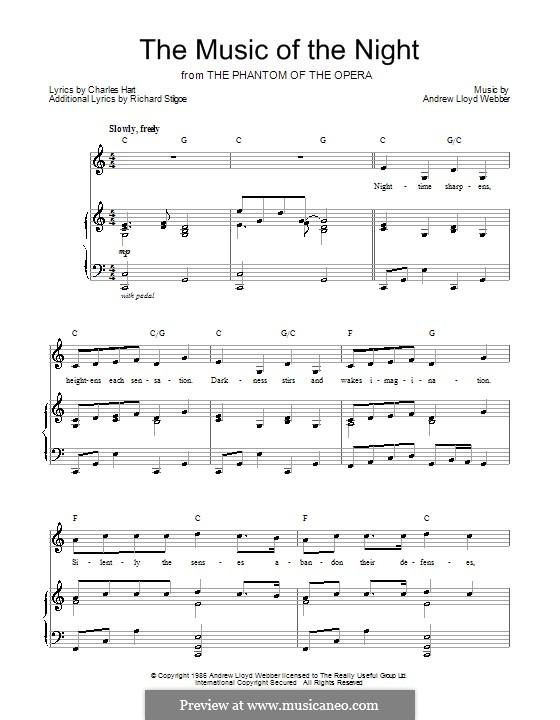 The Music of the Night: Для голоса и фортепиано (или гитары) by Andrew Lloyd Webber