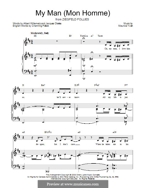 My Man (Mon Homme): Для голоса и фортепиано или гитары (ре мажор) by Maurice Yvain