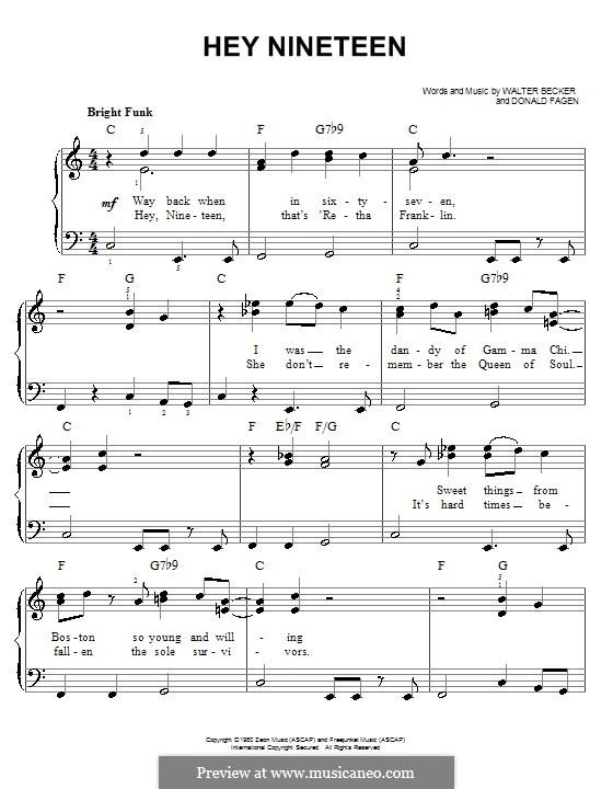 Hey Nineteen (Steely Dan): Для фортепиано (легкий уровень) by Donald Fagen, Walter Becker