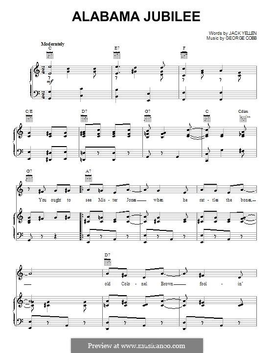 Alabama Jubilee: Для голоса и фортепиано или гитары (Jack Yellen) by George L. Cobb