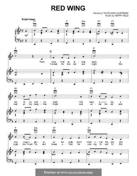 Red Wing (Thurland Chattaway): Для голоса и фортепиано (или гитары) by Kerry Mills