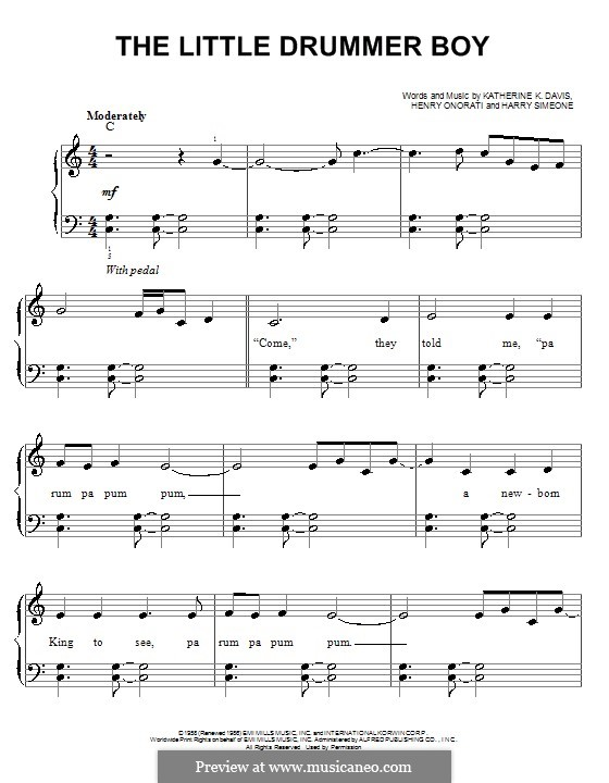 The Little Drummer Boy, for Piano: Easy version by Harry Simeone, Henry Onorati, Katherine K. Davis