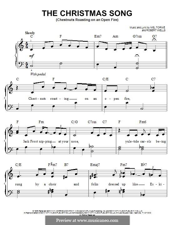 The Christmas Song (Chestnuts Roasting on an Open Fire), for Piano: Легкая версия для фортепиано by Mel Tormé, Robert Wells