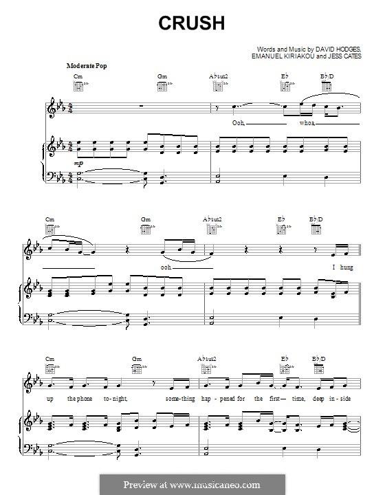 Crush (David Archuleta): Для голоса и фортепиано (или гитары) by David Hodges, Emanuel Kiriakou, Jess Cates