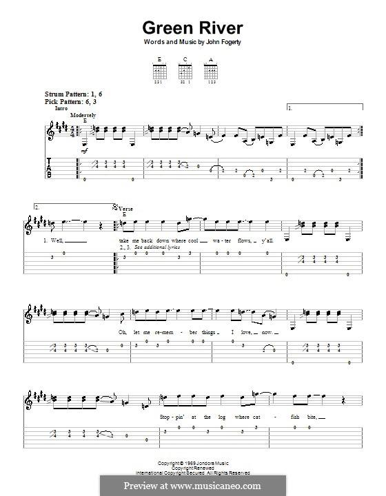 Green River (Creedence Clearwater Revival): Для гитары (очень легкая версия) by John C. Fogerty