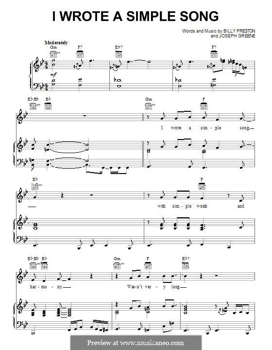 I Wrote a Simple Song (Billy Preston): Для голоса и фортепиано (или гитары) by Joseph Greene