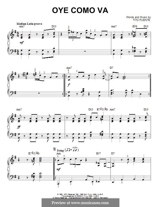 Oye Como Va (Santana): Для фортепиано by Tito Puente