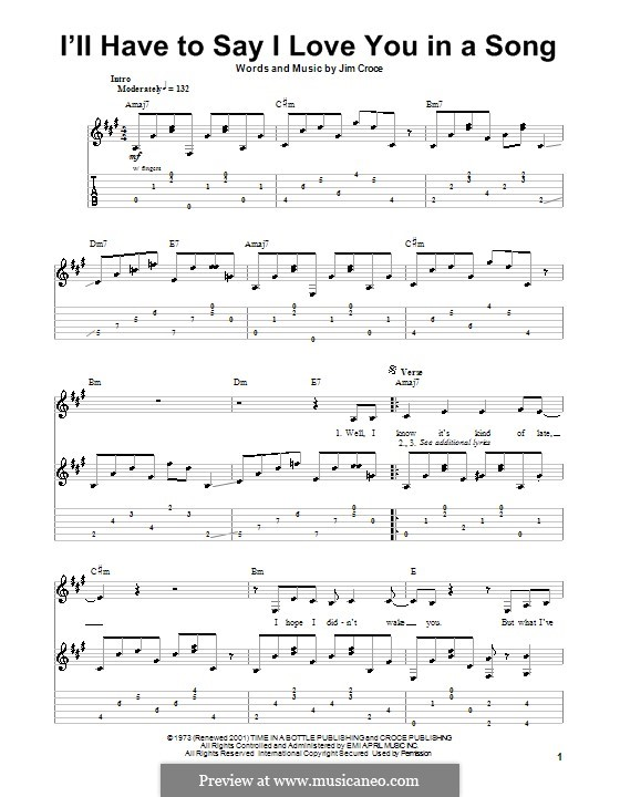 I'll Have to Say I Love You in a Song: Для гитары с табулатурой by Jim Croce