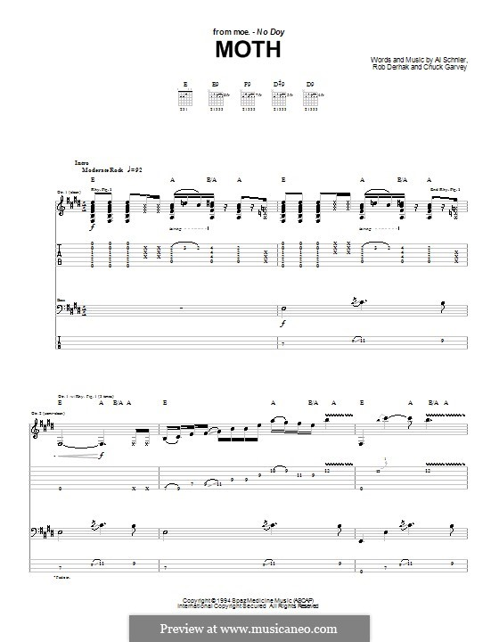 Moth (moe.): Гитарная табулатура by Al Schnier, Chuck Garvey, Rob Derhak