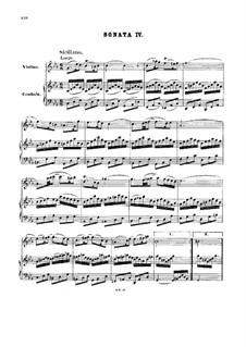 Соната для скрипки и клавесина No.4 до минор, BWV 1017: Партитура by Иоганн Себастьян Бах