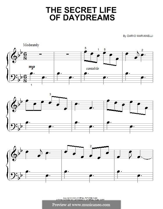 The Secret Life of Daydreams: Для фортепиано (очень легкая версия) by Dario Marianelli