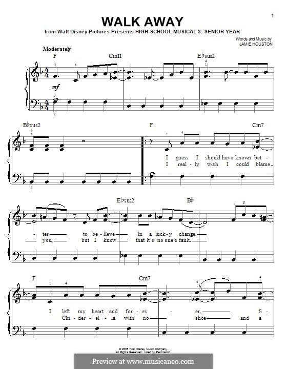 Walk Away (High School Musical 3): Для фортепиано (легкий уровень) by Jamie Houston