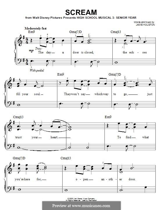 Scream (High School Musical 3): Для фортепиано (легкий уровень) by Jamie Houston