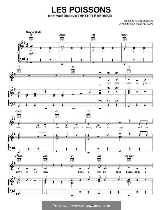 Les Poissons (from The Little Mermaid): Для голоса и фортепиано или гитары (соль мажор) by Alan Menken