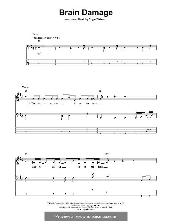 Brain Damage (Pink Floyd): Для бас-гитары с табулатурой by Roger Waters