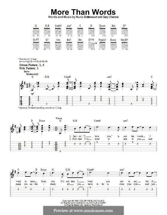 More Than Words (Extreme): Для гитары (очень легкая версия) by Gary Cherone, Nuno Bettencourt