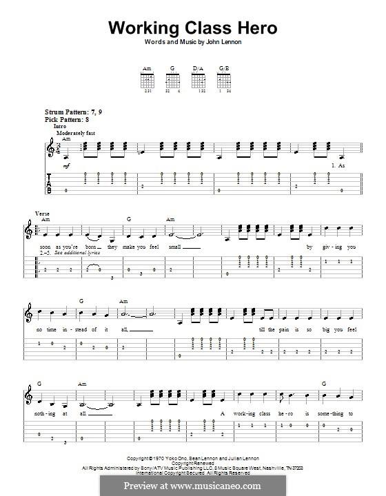 Working Class Hero: Для гитары (очень легкая версия) by John Lennon