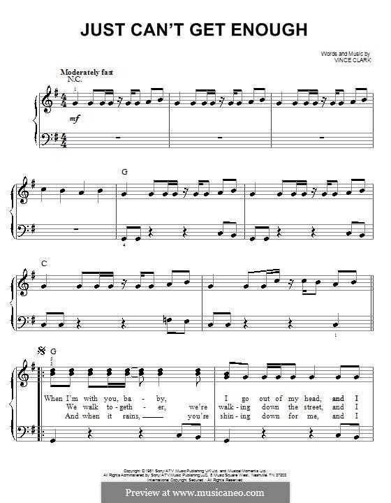 Just Can't Get Enough (Depeche Mode): Для фортепиано (легкий уровень) by Vince Clarke