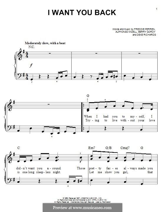 I Want You Back (The Jackson 5): Для фортепиано (легкий уровень) by Alphonso Mizell, Berry Gordy, Deke Richards, Freddie Perren