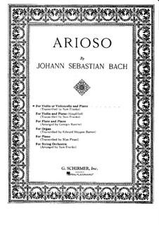 Концерт для клавесина и струнных No.5 фа минор, BWV 1056: Часть II. Переложение для скрипки (или виолончели) и фортепиано – партитура, сольная партия by Иоганн Себастьян Бах