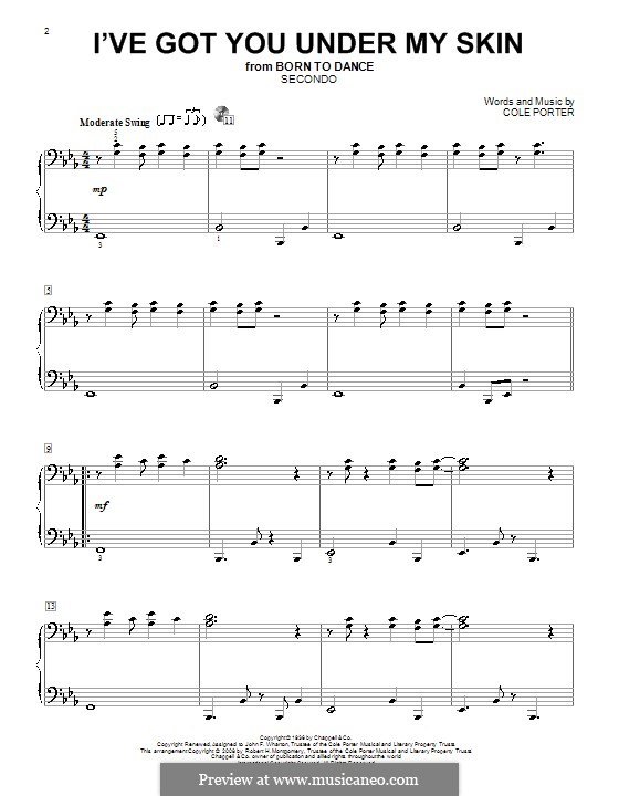 I've Got You under My Skin: Для фортепиано в 4 руки by Кол Портер