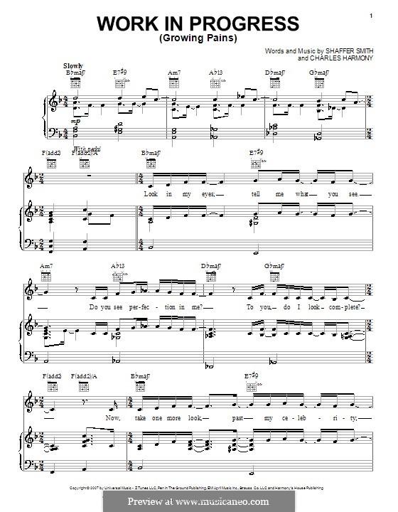 Work in Progress (Growing Pains): Для голоса и фортепиано (или гитары) by Charles Harmony, Ne-Yo