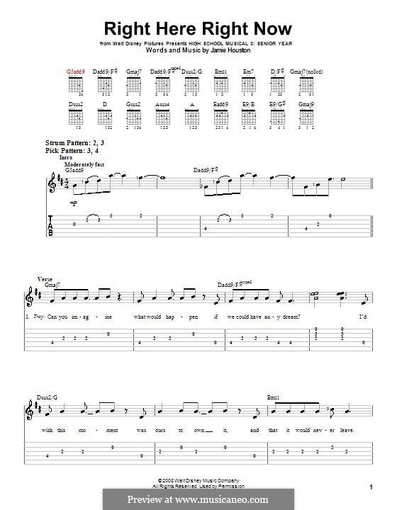 Right Here Right Now (High School Musical 3): Для гитары (очень легкая версия) by Jamie Houston