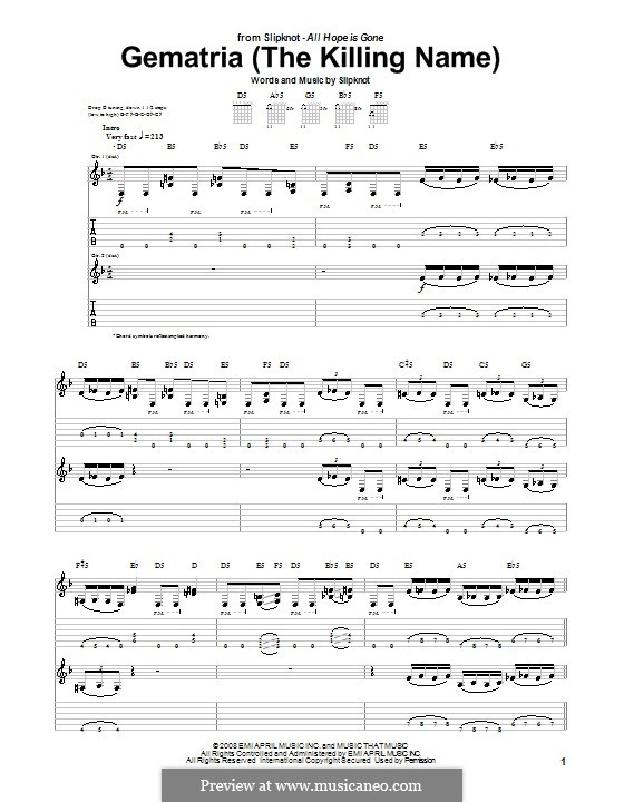 a musica do slipknot gematria