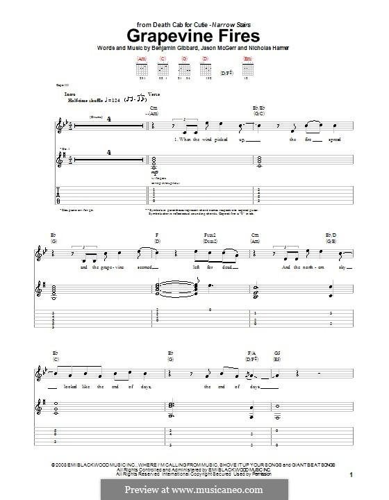 Grapevine Fires (Death Cab for Cutie): Гитарная табулатура by Benjamin Gibbard, Jason McGerr, Nicholas Harmer