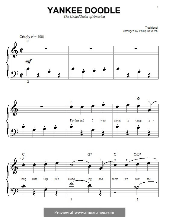 Yankee Doodle: Для фортепиано (очень легкая версия) by folklore