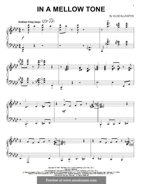 In a Mellow Tone: Для фортепиано by Duke Ellington