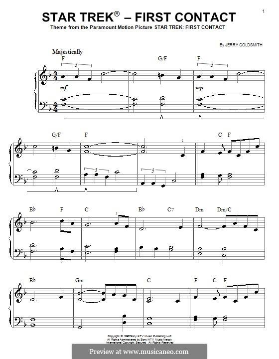 Тема из фильма 'Звёздный путь: Первый контакт': Для фортепиано (легкий уровень) by Jerry Goldsmith