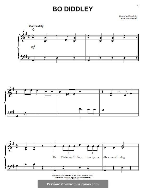 Bo Diddley (Bo Diddley): Для фортепиано (легкий уровень) by Ellas McDaniel