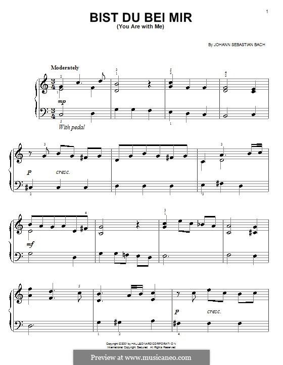 No.25 Bist du bei mir (You Are with Me), Printable scores: Для фортепиано (легкий уровень) by Иоганн Себастьян Бах