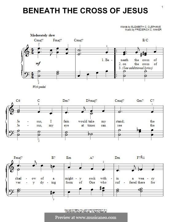 Beneath the Cross of Jesus: Для фортепиано (легкий уровень) by Frederick Charles Maker