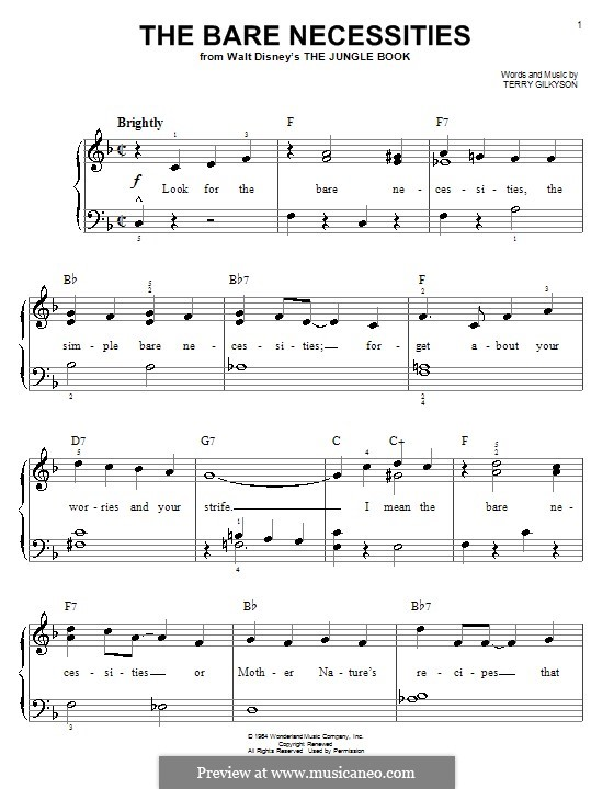 The Bare Necessities (from Disney's The Jungle Book): Для фортепиано (легкий уровень, с аппликатурой) by Terry Gilkyson