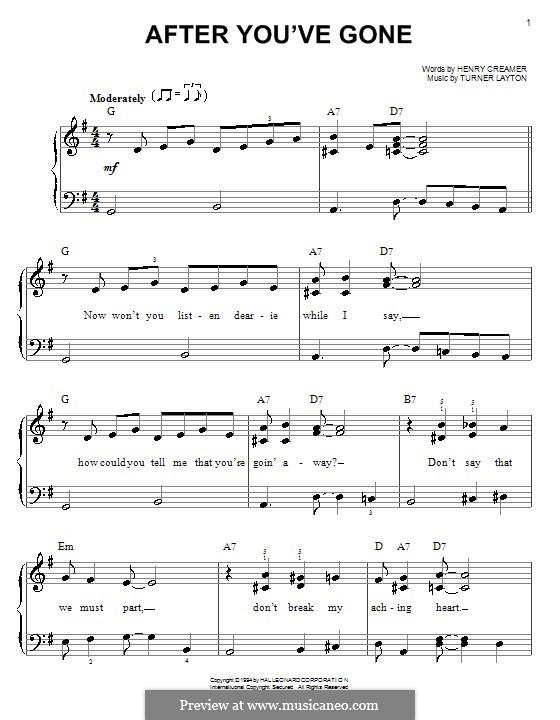 After You've Gone (Sophie Tucker): Для фортепиано (легкий уровень) by Henry Creamer, J. Turner Layton
