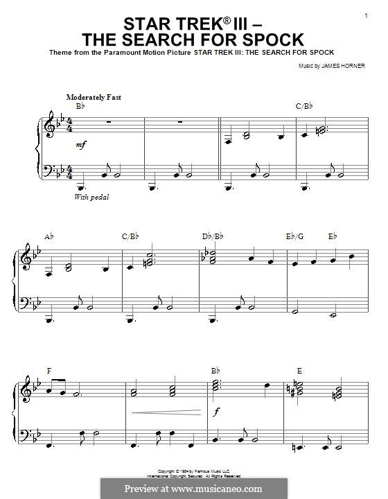 Тема из фильма Звёздный путь III: В поисках Спока: Для начинающего пианиста by James Horner