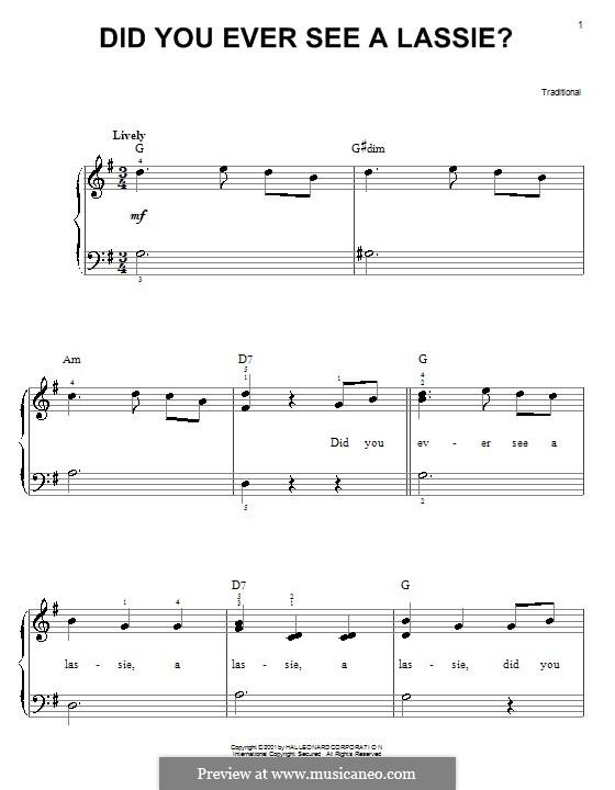 Did You Ever See a Lassie?: Для фортепиано (легкий уровень) by folklore