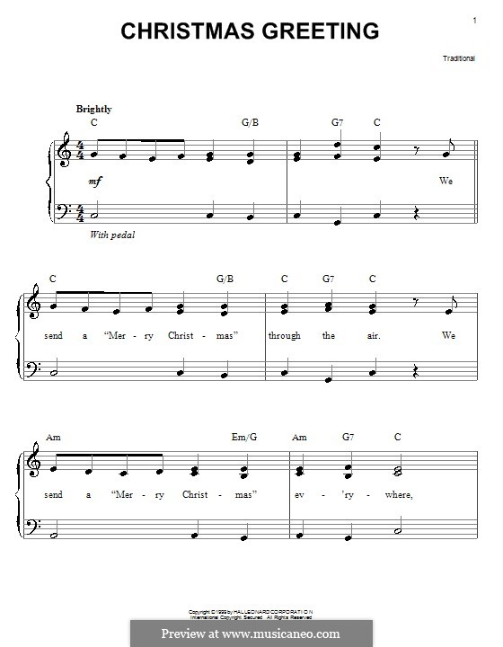 Christmas Greeting: Для фортепиано (легкий уровень) by folklore