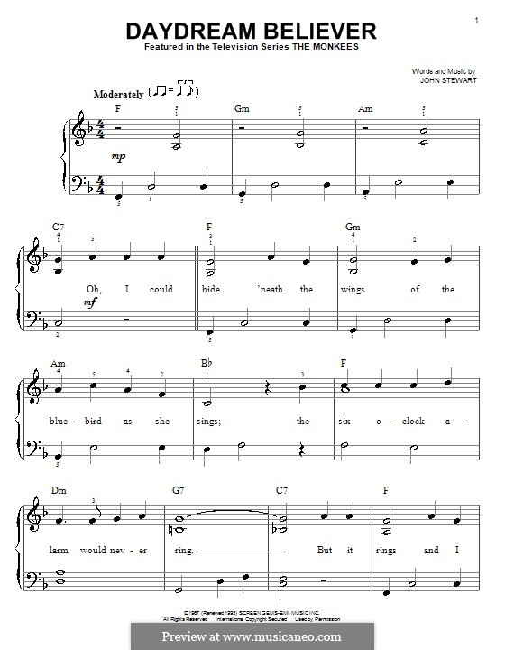 Daydream Believer (The Monkees): Для начинающего пианиста by John Stewart