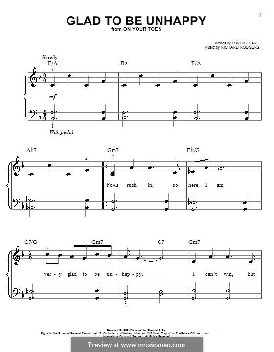 Glad to Be Unhappy: Для фортепиано (легкий уровень) by Richard Rodgers