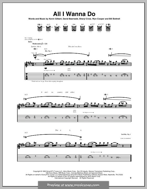 All I Wanna Do: Гитарная табулатура by Bill Bottrell, David Baerwald, Kevin Gilbert, Sheryl Crow, Wyn Cooper