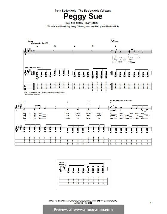 Peggy Sue: Для гитары с табулатурой by Buddy Holly, Jerry Allison, Norman Petty