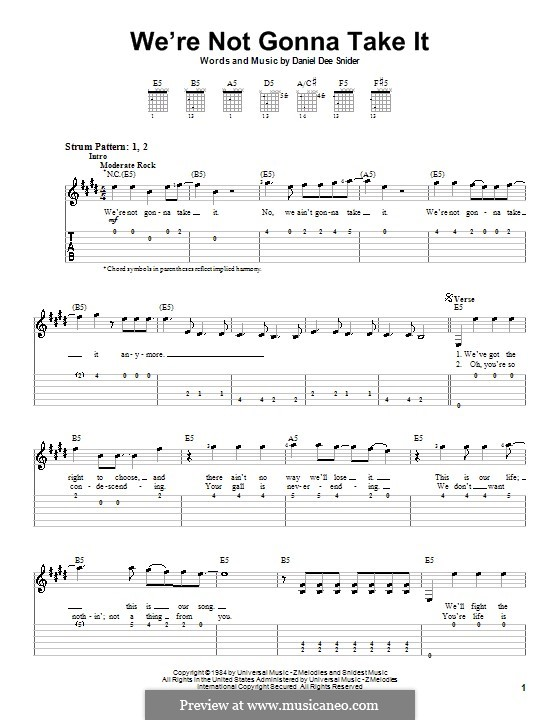 We're Not Gonna Take It (Twisted Sister): Для гитары (очень легкая версия) by Daniel Dee Snider