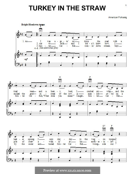 Turkey in the Straw: Для голоса и фортепиано (или гитары) by folklore